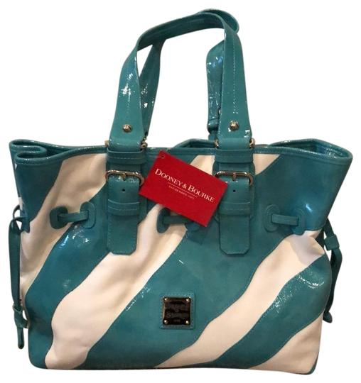 Preload https://img-static.tradesy.com/item/24373795/dooney-and-bourke-medium-chiara-turquoise-patent-leather-and-canvas-tote-0-1-540-540.jpg