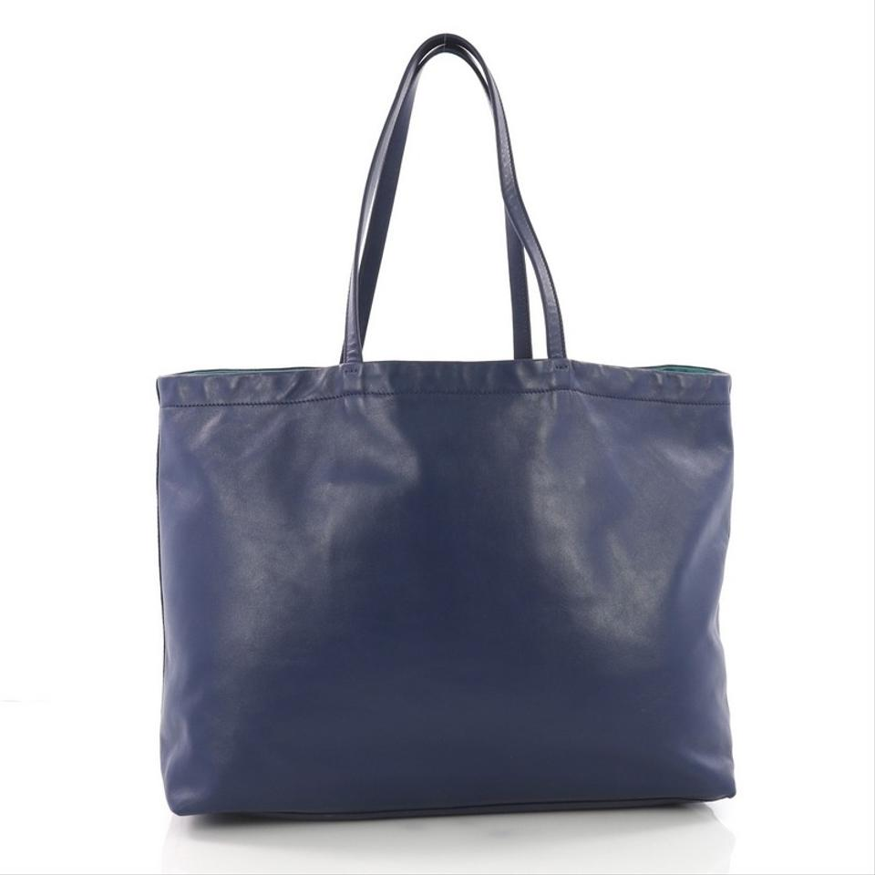 Prada Reversible Soft Large Blue Calfskin Leather Tote - Tradesy afcdcd393b