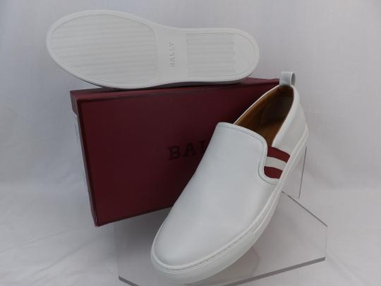 Bally White Herald Leather Web Stripe Logo Sneakers Loafers 8.5 Us 41.5 Shoes Image 2