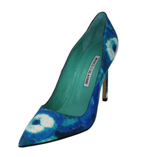 Manolo Blahnik Tie Dye Stiletto Pointed Toe Blue Pumps Image 0
