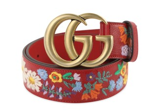 Gucci GG Marmont Flower Embroidered Calfskin Leather