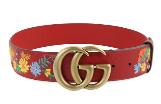 Gucci GG Marmont Flower Embroidered Calfskin Leather Image 1