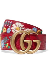 Gucci Gucci Embroidered textured-leather belt 75