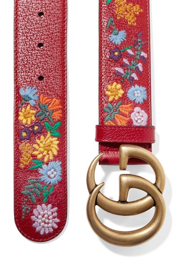 Gucci Gucci Embroidered textured-leather belt 75 Image 1