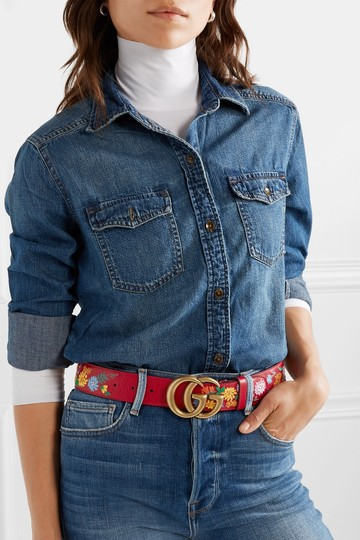 Gucci Gucci Embroidered textured-leather belt 75 Image 2
