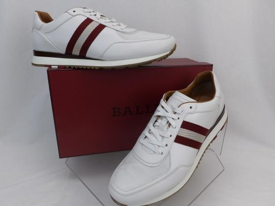 Bally White Aston Leather Mesh Web Stripe Logo Swiss Sneakers 7 Us 40 Shoes Image 1