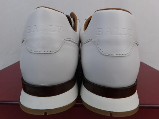 Bally White Aston Leather Mesh Web Stripe Logo Swiss Sneakers 7 Us 40 Shoes Image 4