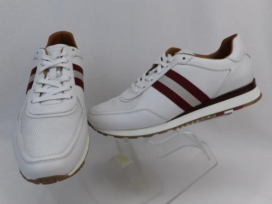 Bally White Aston Leather Mesh Web Stripe Logo Swiss Sneakers 7 Us 40 Shoes Image 7