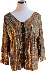 MICHAEL Michael Kors Top Gold and Black Sequined Leopard Print