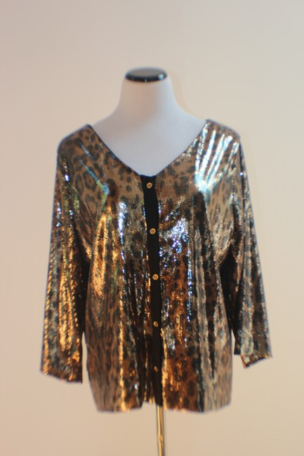 MICHAEL Michael Kors Top Gold and Black Sequined Leopard Print Image 1