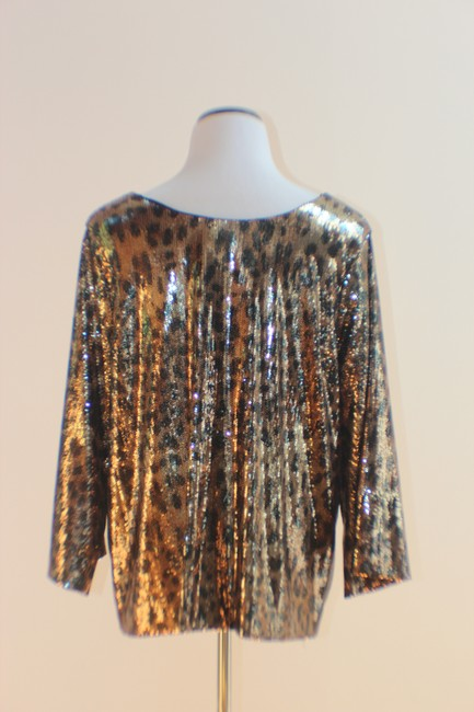 MICHAEL Michael Kors Top Gold and Black Sequined Leopard Print Image 2