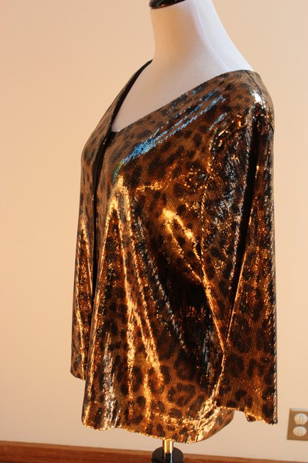 MICHAEL Michael Kors Top Gold and Black Sequined Leopard Print Image 3