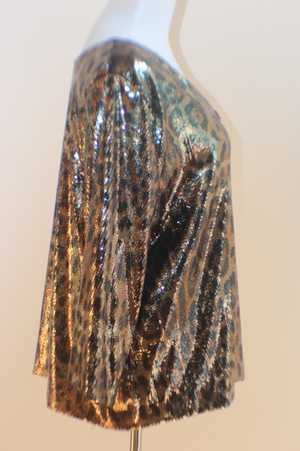 MICHAEL Michael Kors Top Gold and Black Sequined Leopard Print Image 4