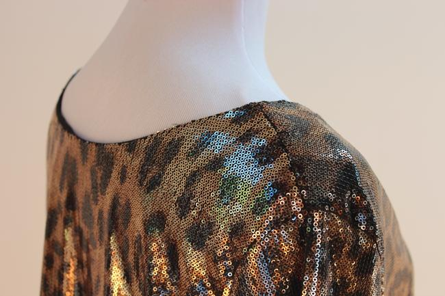 MICHAEL Michael Kors Top Gold and Black Sequined Leopard Print Image 5