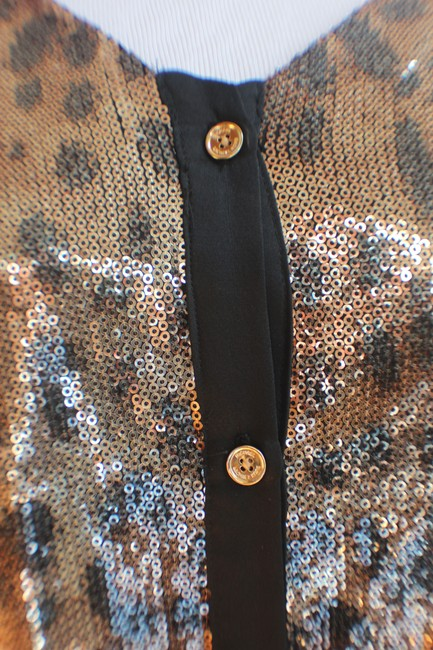 MICHAEL Michael Kors Top Gold and Black Sequined Leopard Print Image 7