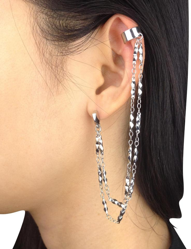Bcbgeneration Silver Toned Ear Cuff Double Chain Stud Studded Earrings 62 Off Retail