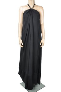 Black Maxi Dress by Max and Cleo Maxi Draped Halter Acrylic Gem