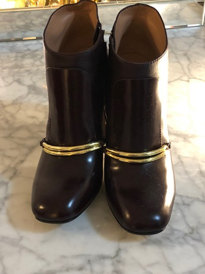 Sigerson Morrison Gold Hardware Round Toe Chunky Oxblood Maroon Boots Image 5