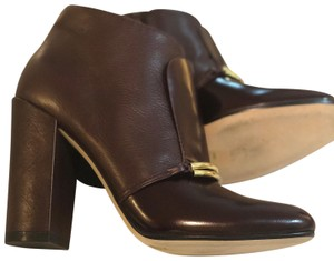 Sigerson Morrison Gold Hardware Round Toe Chunky Oxblood Maroon Boots
