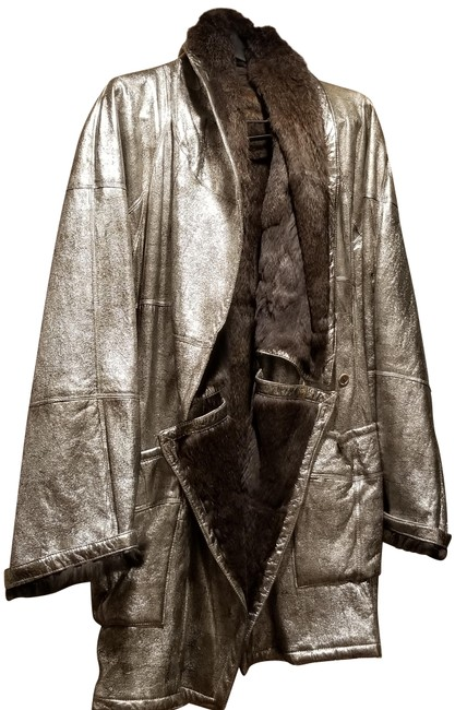 Botticelli Fur Fur Fur Lined Silver Leather Jacket Image 0