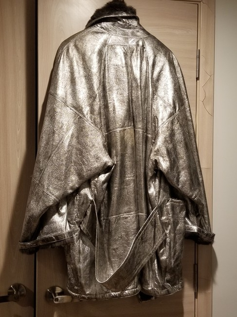 Botticelli Fur Fur Fur Lined Silver Leather Jacket Image 2