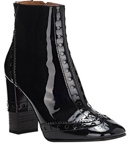 Chloé Made In Italy Luxury Designer Ankle Square Toe Patent Leather Black Boots