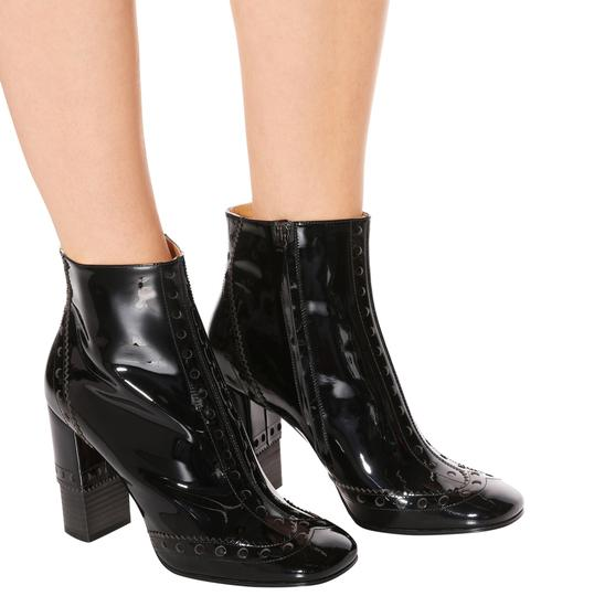 Chloé Made In Italy Luxury Designer Ankle Square Toe Patent Leather Black Boots Image 1
