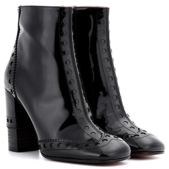 Chloé Made In Italy Luxury Designer Ankle Square Toe Patent Leather Black Boots Image 9