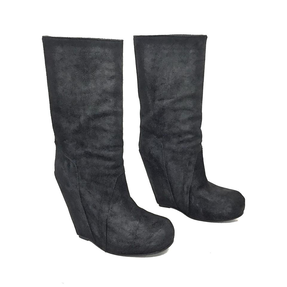 e11b33434b42 Rick Owens Black Distressed Leather Midcalf Platform Wedge Boots Booties