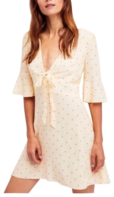 Free People Off White All Yours Dot Mini Short Casual Dress Size 8 (M) Free People Off White All Yours Dot Mini Short Casual Dress Size 8 (M) Image 1