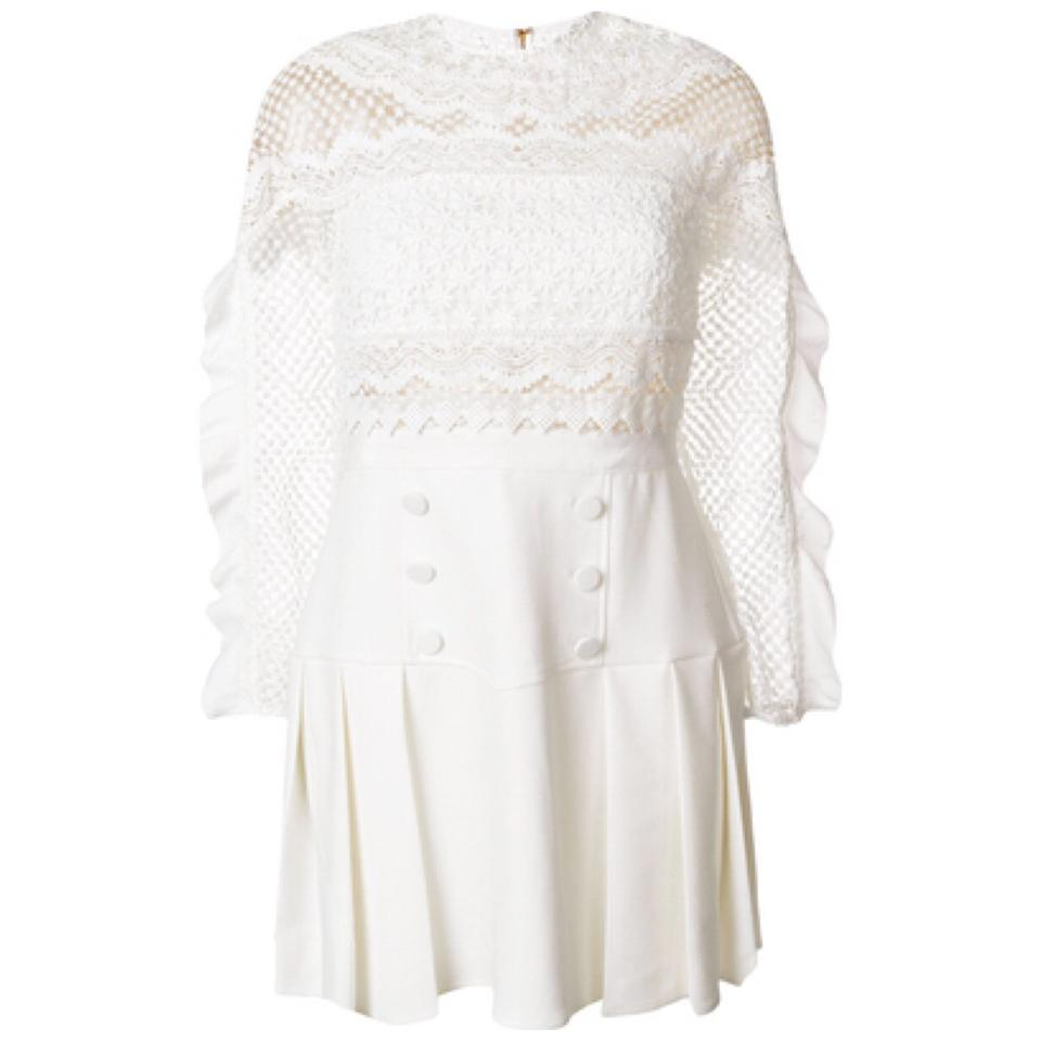 da094a00bbebb self-portrait White Lace Detail Long Sleeve Short Night Out Dress Size 2  (XS) - Tradesy