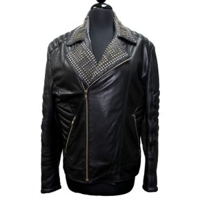 Versace for H&M Giani Biker Gold Studded Gucci Chanel Leather Jacket