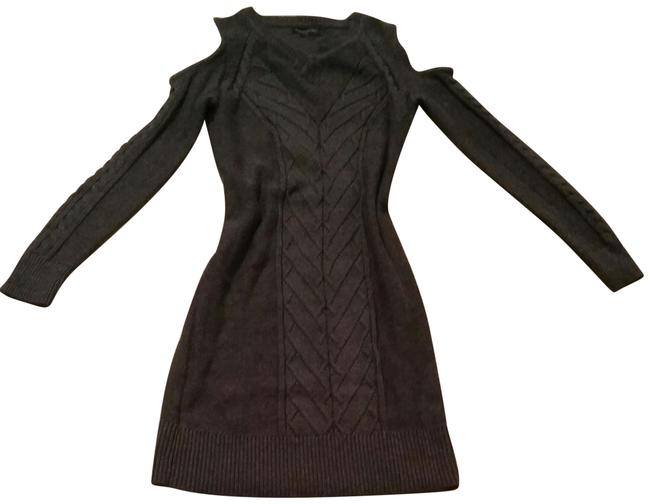 Item - New with Tags. Charcoal Grey Cable Knit Cold-shoulder Short Casual Dress Size 0 (XS)