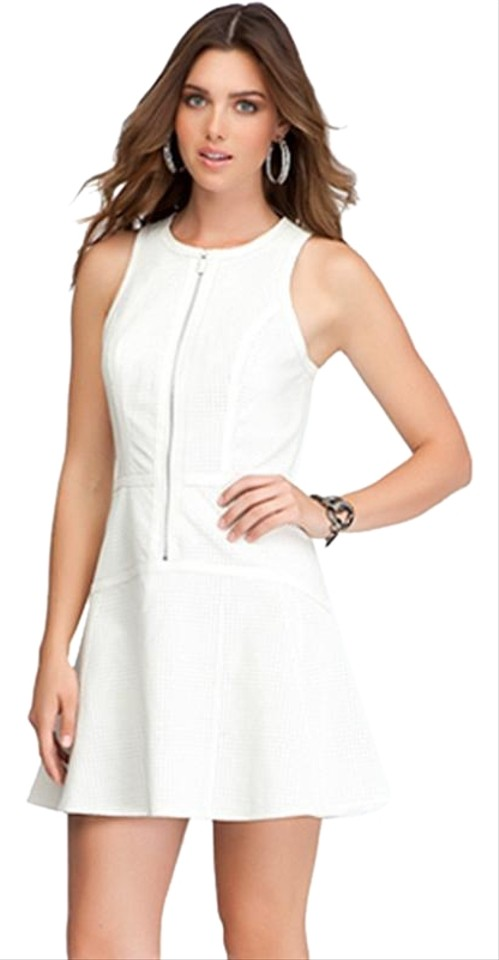 3daa55c7e53d bebe Ivory White Perforated Fit & Flare Leather Zip Front Sexy Short ...