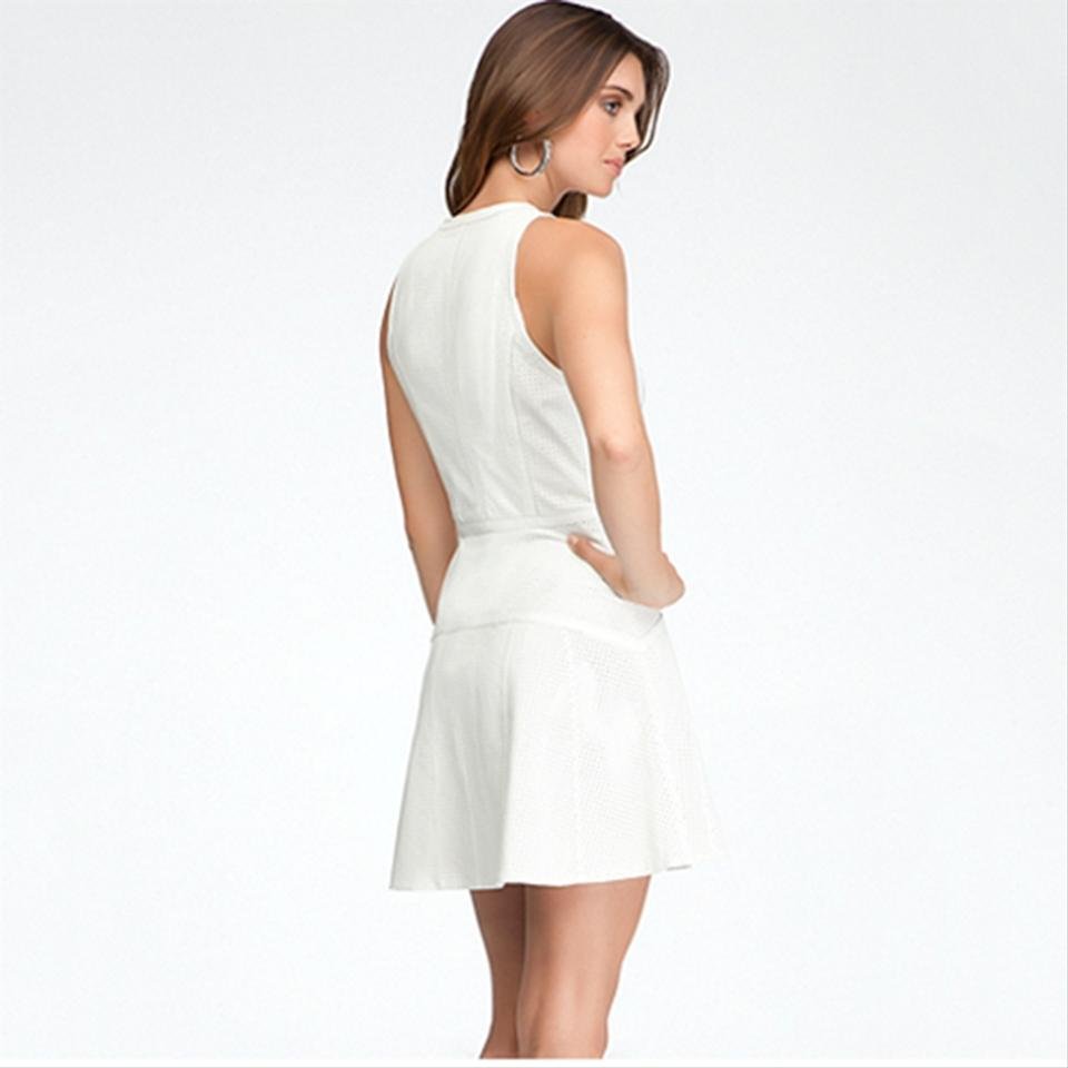 f79fa96ae523 bebe Ivory White Perforated Fit & Flare Leather Zip Front Sexy Short Night  Out Dress Size 4 (S) - Tradesy