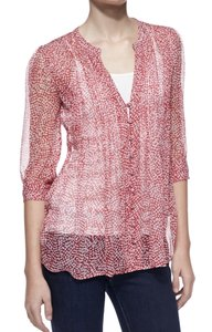 Joie Silk Festival Holiday Boho Bohemian Top Mayan Red