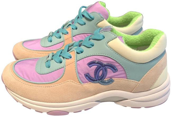 Item - Multicolor 19c Cc Logo Green Purple Pink Suede Lace Up Trainers Sneakers Size EU 37 (Approx. US 7) Regular (M, B)