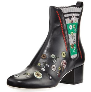 Fendi Made In Italy Luxury Designer Chelsea Floral Embroidered Round Toe Black Multi Boots