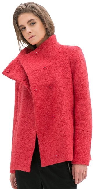 Item - Strawberry Red Berry Pink Wool Boucle Coat Oversized Funnel Collar Jacket Size 4 (S)