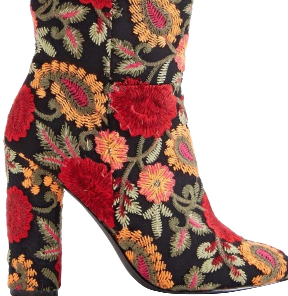 71434426e76 JustFab Black with Colorful Embroidered Designs Marguerite Boots ...