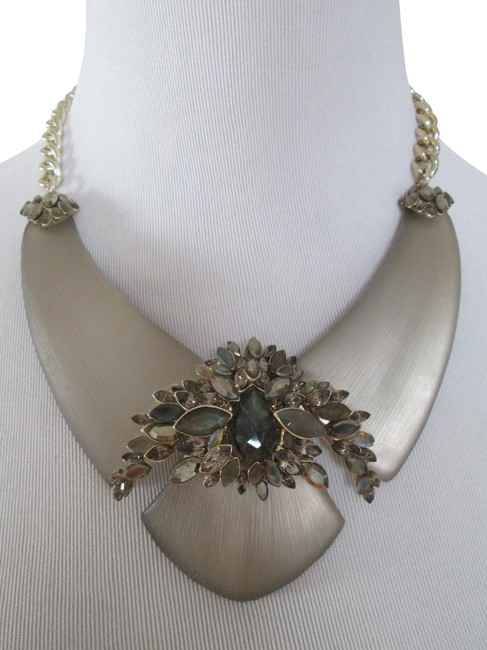 Item - Gold Beige Lucite Stone Accent Large Bib Statement Necklace