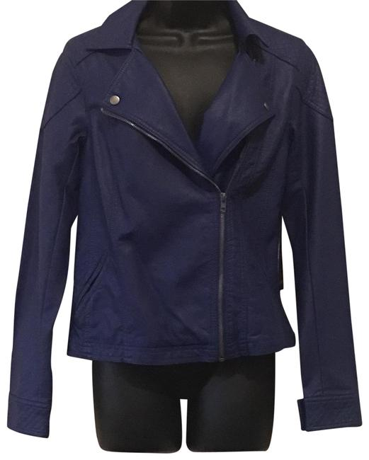 Item - Blue Faux Leather Moto Jacket Size 8 (M)