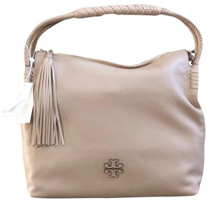 d22ee0a6908 Tory Burch Braided Taylor Holiday Gift Leather Satchel in Devon Sand