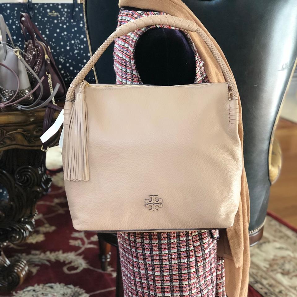 d6ace2f4e2c9 Tory Burch Braided Taylor Holiday Gift Leather Satchel in Devon Sand Image  9. 12345678910