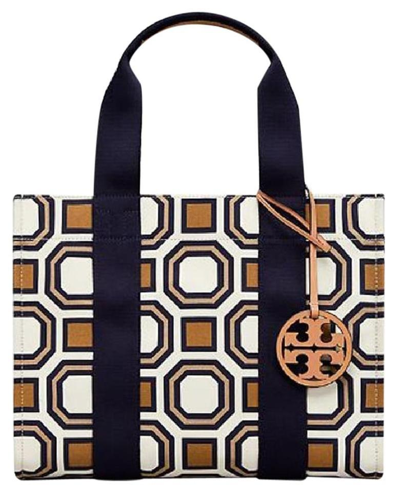 be6310dcb92 Tory Burch Octagon New Ivory Multi Canvas Leather Tote - Tradesy