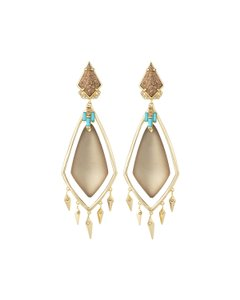 Alexis Bittar Alexis Bittar Jasper Stone Warm Grey Lucite Spike Clip Drop Earrings