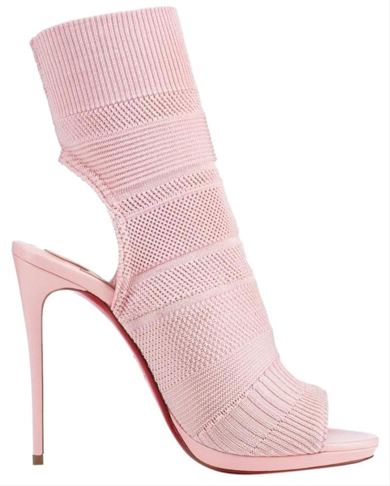 66e3f08d0065 Christian Louboutin Pink Pompadour Maille Cheminene 120mm Knit Sock ...