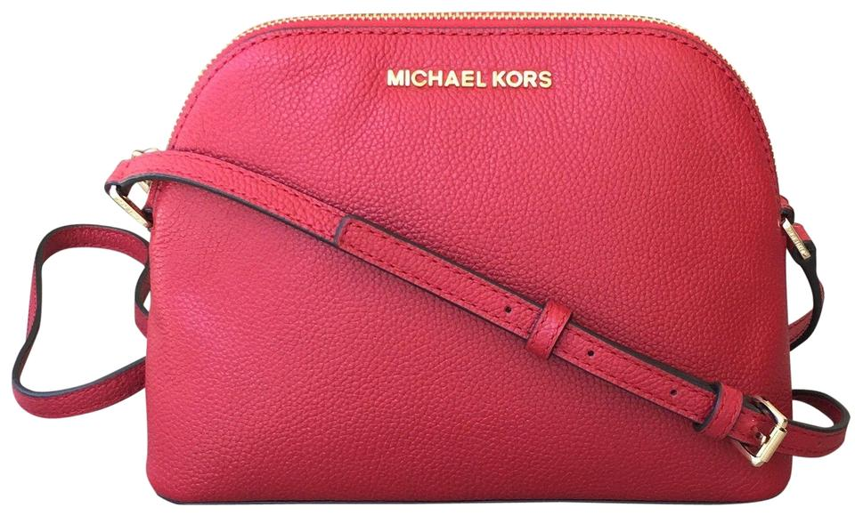 6728d0e9e7a6 Michael Kors Adele Medium Dome Emmy Cindy Red Leather Cross Body Bag ...