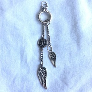 King Baby LARGE WINGS AND SKULL STERLING SILVER PENDANT NECKLACE