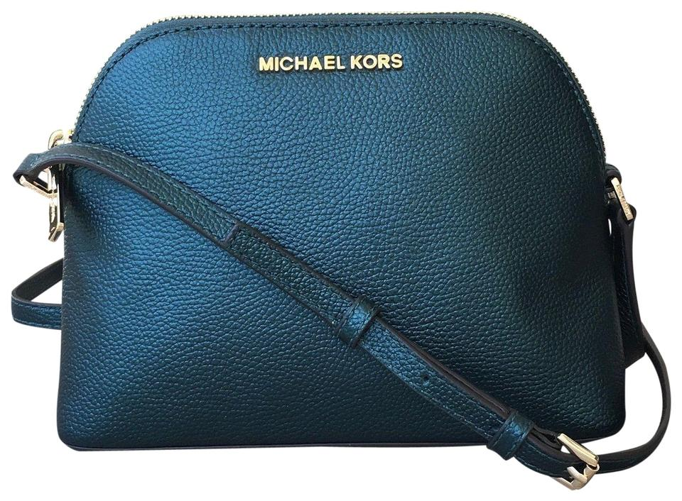 ceed6a659df8 Michael Kors Adele Medium Dome Emmy Cindy Green Leather Cross Body ...